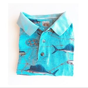 Columbia  Blue Fisherman Short Sleeve Polo | SZ XL